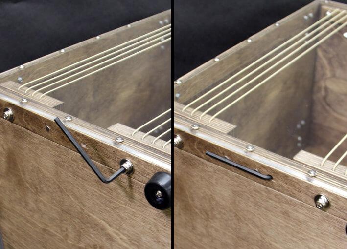 CHAANYの折りたたみカホンBolso 底面のチューニング機能(マグネット収納可能)